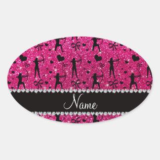 Custom name neon hot pink glitter archery oval sticker