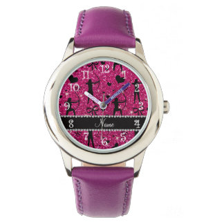 Custom name neon hot pink glitter archery wrist watches
