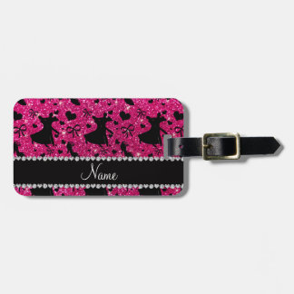 Custom name neon hot pink glitter ballroom dancing luggage tag
