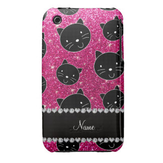Custom name neon hot pink glitter black cat faces iPhone 3 cases