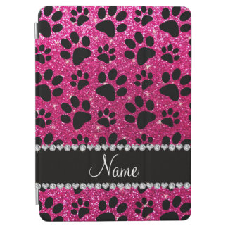 Custom name neon hot pink glitter black dog paws iPad air cover