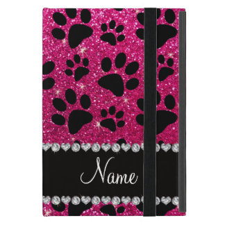 Custom name neon hot pink glitter black dog paws iPad mini case