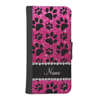 Custom name neon hot pink glitter black dog paws iPhone SE/5/5s wallet case