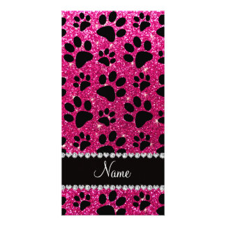 Custom name neon hot pink glitter black dog paws personalized photo card