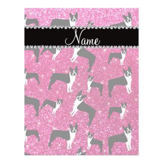 Custom name neon hot pink glitter boston terrier flyer