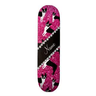 Custom name neon hot pink glitter boston terrier skateboards