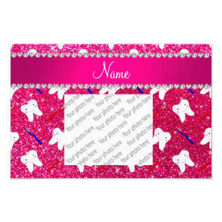Custom name neon hot pink glitter brushes tooth photograph