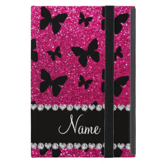 Custom name neon hot pink glitter butterflies cover for iPad mini