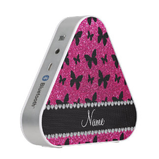 Custom name neon hot pink glitter butterflies bluetooth speaker