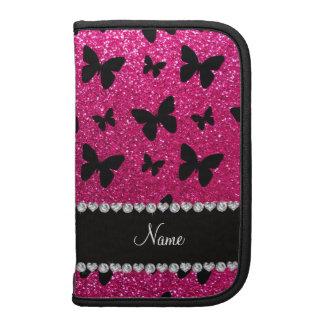Custom name neon hot pink glitter butterflies folio planners