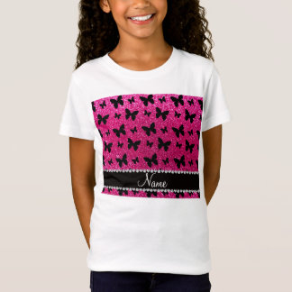 Custom name neon hot pink glitter butterflies T-Shirt