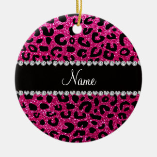 Custom name neon hot pink glitter cheetah print christmas ornament