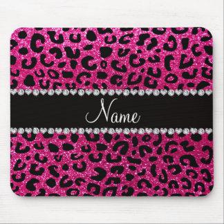 Custom name neon hot pink glitter cheetah print mouse mat