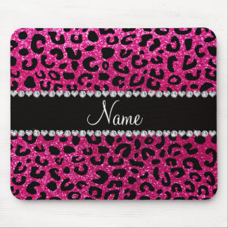 Custom name neon hot pink glitter cheetah print mouse pad