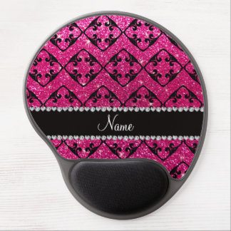 Custom name neon hot pink glitter diamond swirls gel mouse mat
