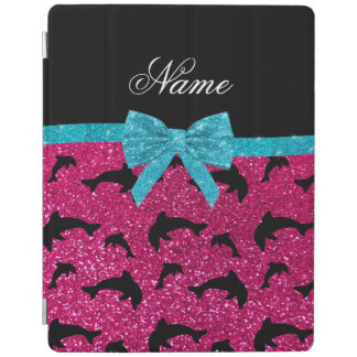 Custom name neon hot pink glitter dolphins bow iPad cover