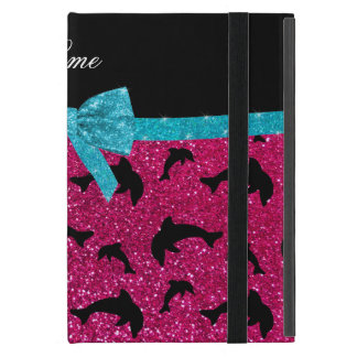 Custom name neon hot pink glitter dolphins bow iPad mini cover