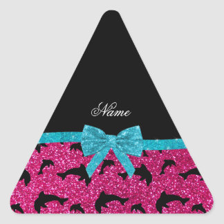Custom name neon hot pink glitter dolphins bow triangle sticker