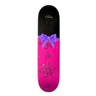 Custom name neon hot pink glitter flowers bow skate decks