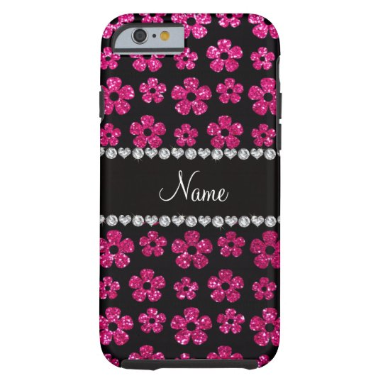 Custom name neon hot pink glitter flowers tough iPhone 6 case