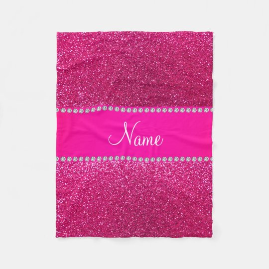 Custom name neon hot pink glitter hot pink