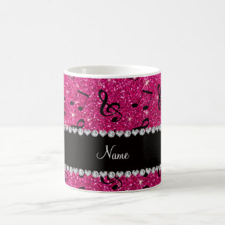 Custom name neon hot pink glitter music notes coffee mug