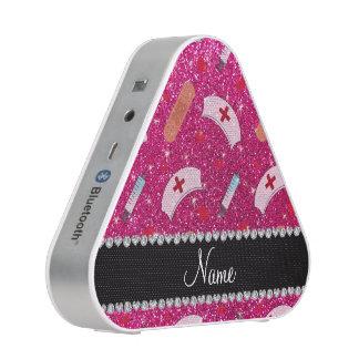 Custom name neon hot pink glitter nurse hats heart