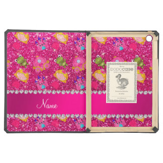 Custom name neon hot pink glitter princess frogs case for iPad air