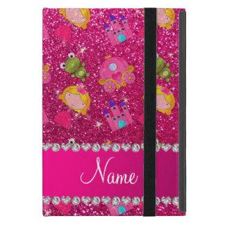 Custom name neon hot pink glitter princess frogs iPad mini covers