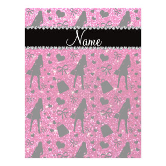 Custom name neon hot pink glitter shopping pattern personalized flyer