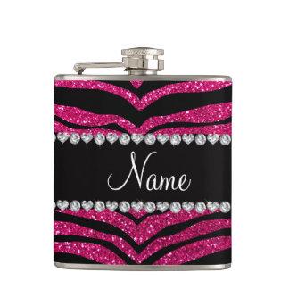 Custom name neon hot pink glitter tiger stripes flasks