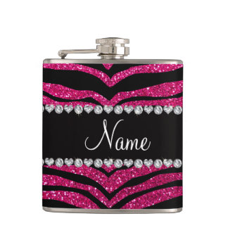 Custom name neon hot pink glitter tiger stripes hip flask