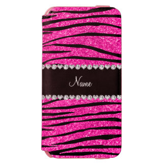 Custom name neon hot pink glitter zebra diamonds incipio watson™ iPhone 6 wallet case
