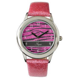 Custom name neon hot pink glitter zebra diamonds wrist watches