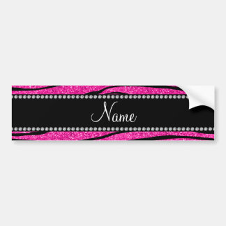 Custom name neon hot pink glitter zebra stripes bumper sticker