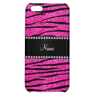 Custom name neon hot pink glitter zebra stripes case for iPhone 5C