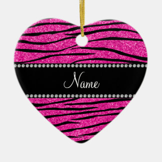Custom name neon hot pink glitter zebra stripes christmas ornament