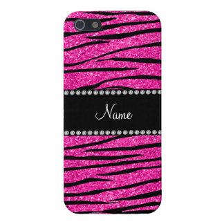 Custom name neon hot pink glitter zebra stripes cover for iPhone 5/5S