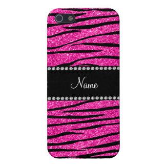 Custom name neon hot pink glitter zebra stripes cover for iPhone 5/5S