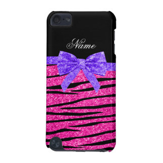 Custom name neon hot pink glitter zebra stripes iPod touch 5G case