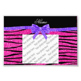 Custom name neon hot pink glitter zebra stripes photograph