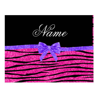 Custom name neon hot pink glitter zebra stripes postcard