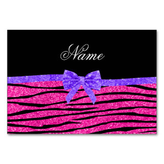 Custom name neon hot pink glitter zebra stripes table cards