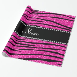 Custom name neon hot pink glitter zebra stripes wrapping paper