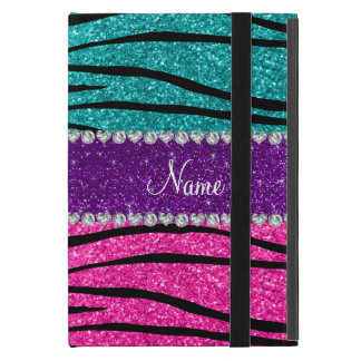 Custom name neon hot pink turquoise zebra stripes cover for iPad mini