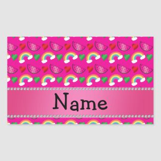 Custom name neon hot pink watermelons rainbows rectangular sticker