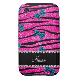 Custom name neon hot pink zebra stripes blue bows iPhone 3 tough covers