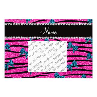 Custom name neon hot pink zebra stripes blue bows photo art