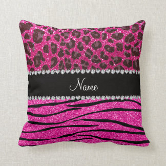 Custom name neon hot pink zebra stripes leopard cushion
