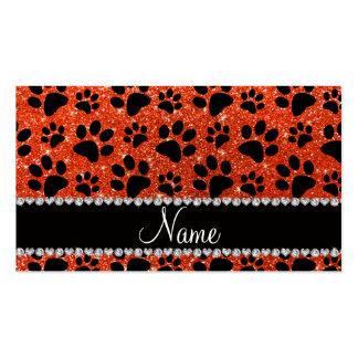 Custom name neon orange glitter black dog paws business cards